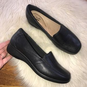 Clarks collection black leather comfort loafers 9